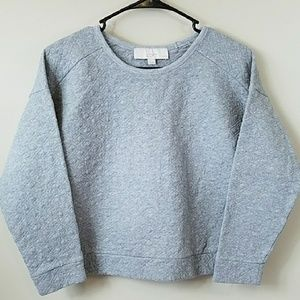 Ann Taylor LOFT Petite Quilted Gray Sweatshirt